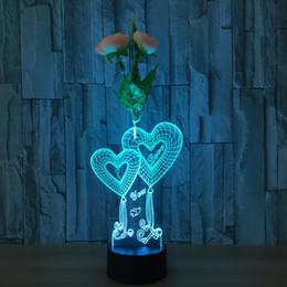 DoBe 3D Illusion Night Light Flowerpot Vase Lamp Hearts Christmas Halloween Girlfriend Room Desk Decoration Accessories Flower Anniversary