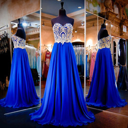 Royal Blue Prom Dresses 2017 Sweetheart Backless Gold Applique Crystal Latest Evening Gown Designs Cheap vestido de festa