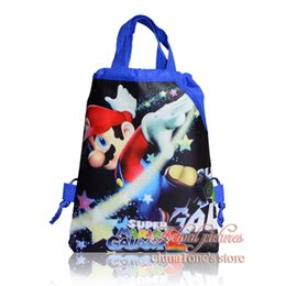 2017 enfants cordon sacs d'école Meilleures ventes, 12 pièces Super Mario Bros Sacs à dos pour enfants Drawstring Kids School Bags 29 * 22cm Party Gift Shopping Sacs de voyage bon marché enfants cordon sacs d'école