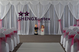 White Wedding Backdrop Curtain Include Drape Swags With LED Lights For Wedding