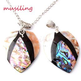 Wholesale Natural Abalone Pink Shell Splicing Necklace Pendants Pendulum Jewelry Charms Joining Together Accessories European Trendy Jewelry For Women