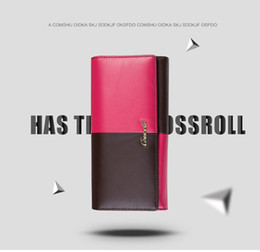 Cossroll fashion Cowhide genuine leather wallet women long section leather women purse with zipper coin wallets money clip