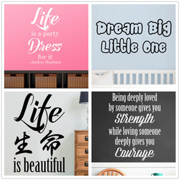 Mix Order Chinese Letter Life Wall sticker Inspirational Wall Decal Vinyl Removable Stickers Vinyl Wall Words Quotes Nursery Kids Home Decor