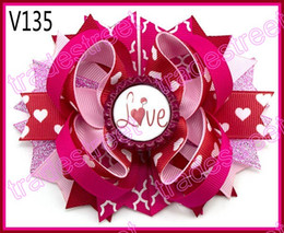 free shipping 2017 newest 30pcs Valentine's day hair bows-A Girl boutique bows Valentine hair clips heart ribbon hair clippie