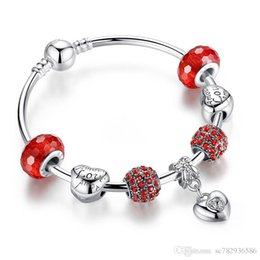 Charm Bead fit European Pandora Bracelets Jewelry Charm Bracelet Original Silver Plated Women Heart Pendant Crystal LOVE Chain Link 19cm