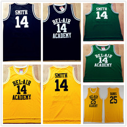 Wholesale The Fresh Prince of Bel Air Will Smith Bel Air Academy Basketball Jersey Men s Will Smith Black Green Yellow Carlton Banks Jerseys