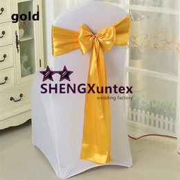 Gold Color Satin Chair Sash \ Chair Bow Fit For Chair Cover Wedding Decoration