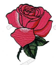 Beautiful 10 pcs Lot Rose Flower Embroidered Patches Iron On Clothing 100% Embroidery Badge DIY Applique Accessory G0472