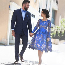 Elegant Royal Blue Cocktail Dresses 2017 Short Lace Appliques Long Sleeve Knee Length Women Fashion Party Gowns For Graduation