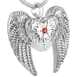 IJD8312 Angel Wings Stainless Steel Cremation Necklaces For Ashes Red Crystal Heart Urn Necklace Keepsake Memorial Pendants