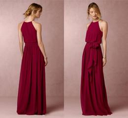 Burgundy Long Bridesmaid Dresses BHLDN Chiffon Summer Beach Wedding Party Dresses Sheath Floor Length Cheap Long Prom Dresses Dark Navy