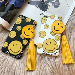 Cute Smile Face With Tassels Soft Shockproof Cell Mobile Phone Lens Protective Cover Case Accessories For iPhone 7 6s Plus SJK-016