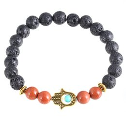 Wholesale The palm of your hand hand string bracelet The hand of lava stone agate fama paypal hot style bracelet