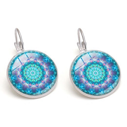 Vintage Copper Mandala Crystal Glass Cabochon Earring Women Charm Party Jewelry Wholesale Dangle Earrings DIY Handmade