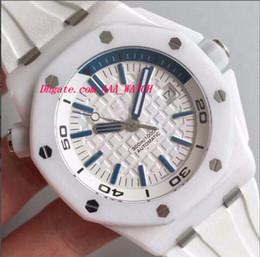 Compra Online Cerámica blanca reloj de pulsera-Fashion Offshore blanco de goma pulsera blanca de cerámica Bisel Automic mecánico reloj de hombre reloj de pulsera de lujo