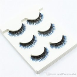 cils de scène Promotion Cils bleus colorés faux Cils longs faux faits à la main Fake Eye Lash 3D Glam Volume Partie sexy Queen Stage Eyelash extension 3Pair / set