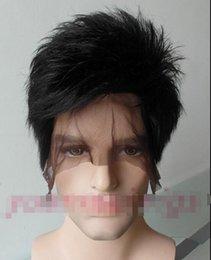 2017 pleine perruque de dentelle hommes Livraison gratuite! Nouvelle belle mode nouveau court noir Hommes pleine dentelle 100% perruque de cheveux humains perruques de dentelle personnalisé pour les hommes pleine perruque de dentelle hommes sur la vente