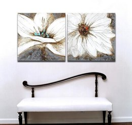 White Flower 100% Hand painted Oil Painting on Canvas 2 Pieces Modern Canvas Wall Art Painting for Living Room