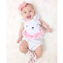 Wholesale 2017 New Summer Baby Rompers Bodysuits Newborn Clothes Infant Girls Sleeveless Floral Decor Rabbit Pattern One Piece Jumpsuits Kids Clothing