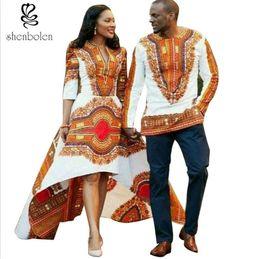 Fashion Womens African Dress V Neck Irregular Dashiki Batik Prints Mens Tops lady Couples Dress for girl boy