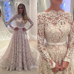 Wholesale Long Sleeves Vintage Lace Wedding Dresses Arabic Lace Sheer Bateau Neck Backless A Line Sweep Train Bridal Gowns Robe De Soiree Custom