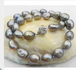 Wholesale Free delivery Jewelry Women s Girl s LARGE MM SILVER GRAY REAL BAROQUE CULTURED PEARL NECKLACE KGP CRYSTAL