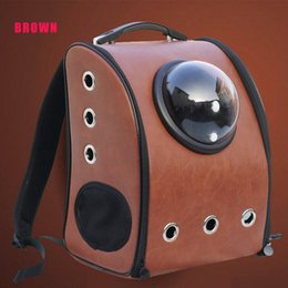 Cat-carring Pet Carrier Outside Astronaut Capsule PU Leather Travel Portable Dog Bags