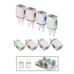2.1A USB Wall Charger Led Light US Charging Plugs AC Travel Adapter for iPhone Samsung Android Phone Tablet