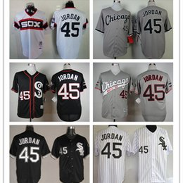 2016 Majestic 2015 New Chicago White Sox 45 Michael Jordan Jersey Black White Gray Men's Throwback Baseball Jerseys free shipping