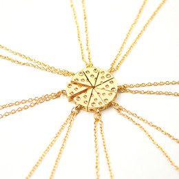 Wholesale Pizza Cheese Pendant Necklaces Gold Silver Friendship Necklace Best Friends Forever Creative Keepsake Birthday Gift