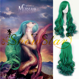 Yowamushi Pedal Makishima Yuusuke Green Orange Ombre Wig Long Curly Synthetic Wigs Heat Resistant for Women Mermaid Perucas Cosplay women's