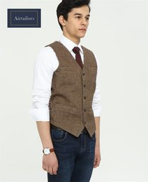 Brand Farm Wedding Brown Wool Tweed Vests Custom Made Prom Suit Vests Slim Wedding Vests Men Groom Wear Tuxedo Waistcoat Men Plus Size
