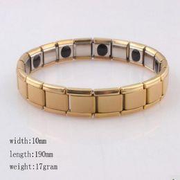 Wholesale women all gold Tourmaline Energy Balance Bracelet Tourmaline Bracelet Health Care Jewelry For Women Germanium Magnetic Bracelets Bangle