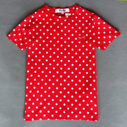 Wholesale Summer New CDG Play cotton Women Men Simple Japan Tide brand Love Embroidery Red heart Wave point Classical short Sleeve T shirts