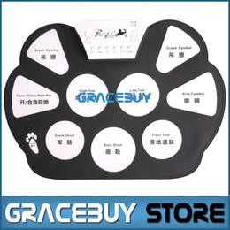 Batterie électronique pad ensemble en Ligne-Vente en gros-Portable électrique Digital Practice Drum Pad Set USB Drumset électronique Kit Musical Drumpad Avec Drum Sticks Foot Pedal Nouveau