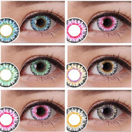 Wholesale Milk powder series Colorful Cosmetic contact lenses eye color yearly use DIA mm Coloured contacts eye color Freeshipping