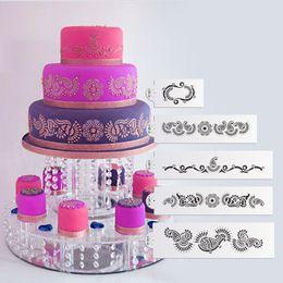 Mehndi 5 Tier Cake Stencil Set, Cake Craft Stencils,Cake Border Stencils Wedding Decorating cake Mould, Fondant Decotrations ST-213