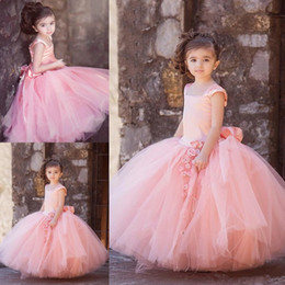 Lovely Pink Ball Gown Flower Girl Dresses 2017 New Cap Sleeves Puffy Skirts Sash Back Long Kids Formal Wear Gowns Girls Pageant Dress