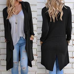 Promotion noir cardigan tricoté Vente en gros-2016 automne hiver chandails Cardigan femmes à manches longues manches longues Cardigan Outwear Retour Split moyen Long Coton noir équipement