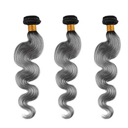 Ombre Brazilian Hair Bundles 3pcs lot T1B Gray Body Wave Hair Weft Can Be Dyed 100% Virgin Human Hair Weave Cheap Price