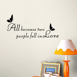 Love Quotes Wall Decals Butterfly Vinyl Stickers and Murals for Living Room Bedroom Decor