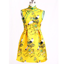 Wholesale Womens Cheongsam Women s Retro Print Stretch Short Sleeve Stand Collar Sheath Palace Webbing Dress