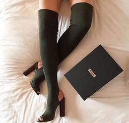 Tissu extensible sur le genou Chaussures Militaire kanye West Chaussures Talons Chaussettes Peep Toe Toile Cuisse Bottes Haute Knit Cheville Femmes Pompes à partir de chaussures simples talons fabricateur