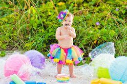 2017 vêtements de ballet pour bébé Petite fille chaude arc-en-ciel 7 couleurs maille tutu danse jupe bébé fille bulle jupe tutu robe ballet jupe pettiskirt vêtements vêtements de ballet pour bébé offres
