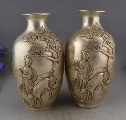 Chine Argent Sculpté Pinaster Caractère Cerf Vases Paire Sculpture Statues