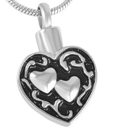 IJD8539 316L Stainless Steel Cremation Jewelry Retro Double Heart Urn Pendant Memorial Ashes Keepsake Necklace with Engraving