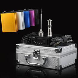 Wholesale Newest Temperature Control box Dnail Enail Kit mixture colors With US UK mm coil heater Titanium nail in Aluminum Case