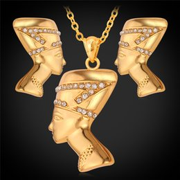 U7 Women Egypt Queen Heads Necklace Earrings Set 18K Real Gold Platinum Plated Austrian Rhinestone Fashion African Jewelry African Accessoy