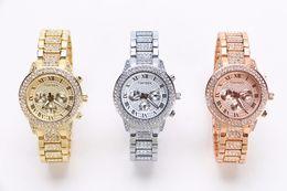 2016 Gold Watch Women Luxury Brand New Geneva Ladies Quartz-Watch Gifts For Girl Full Stainless Steel Rhinestone wrist watches