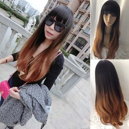 High Quality Fashion Picture full lace wigs >New Fashion Women Long Curly Wavy Hair Full Wigs Cosplay Party Wig Brown